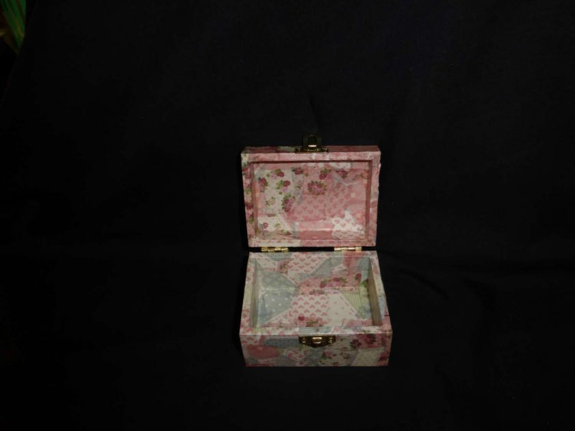 Small Treasure Chest Box with Decopatch covering 2