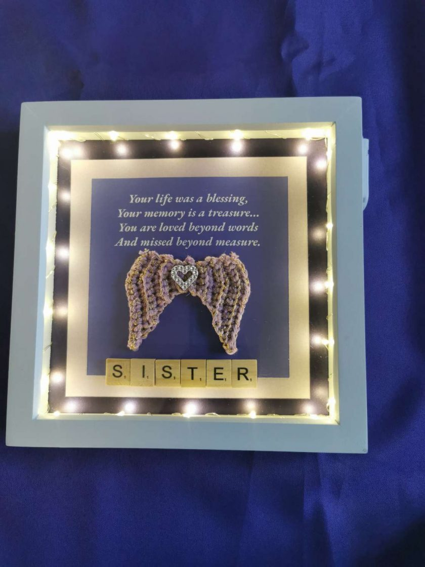 Angel Wings Personalised Box Picture With Lights 1