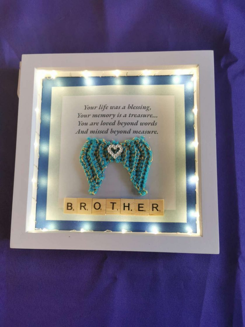 Angel Wings Personalised Box Picture With Lights 2