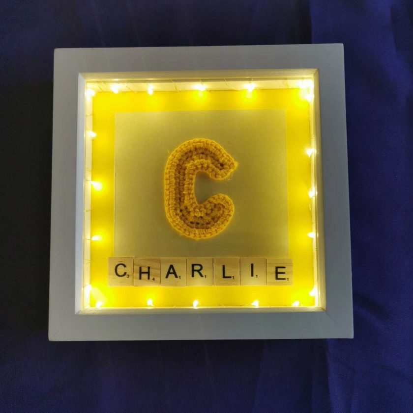 Crocheted Initial Personalised Box Picture with Lights 1