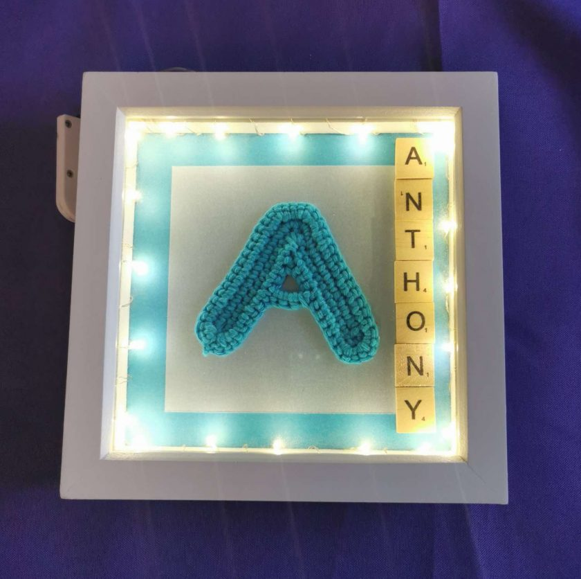 Crocheted Initial Personalised Box Picture with Lights 2