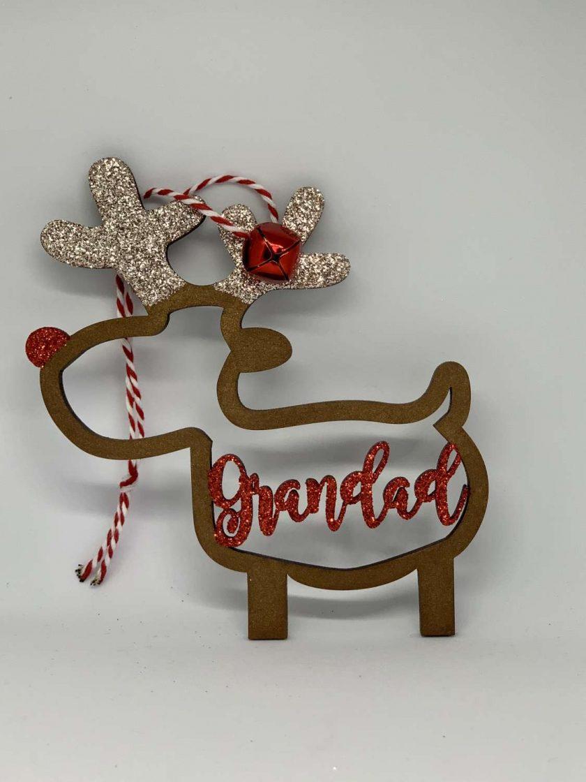 Reindeer Christmas Bauble - Grandad 1