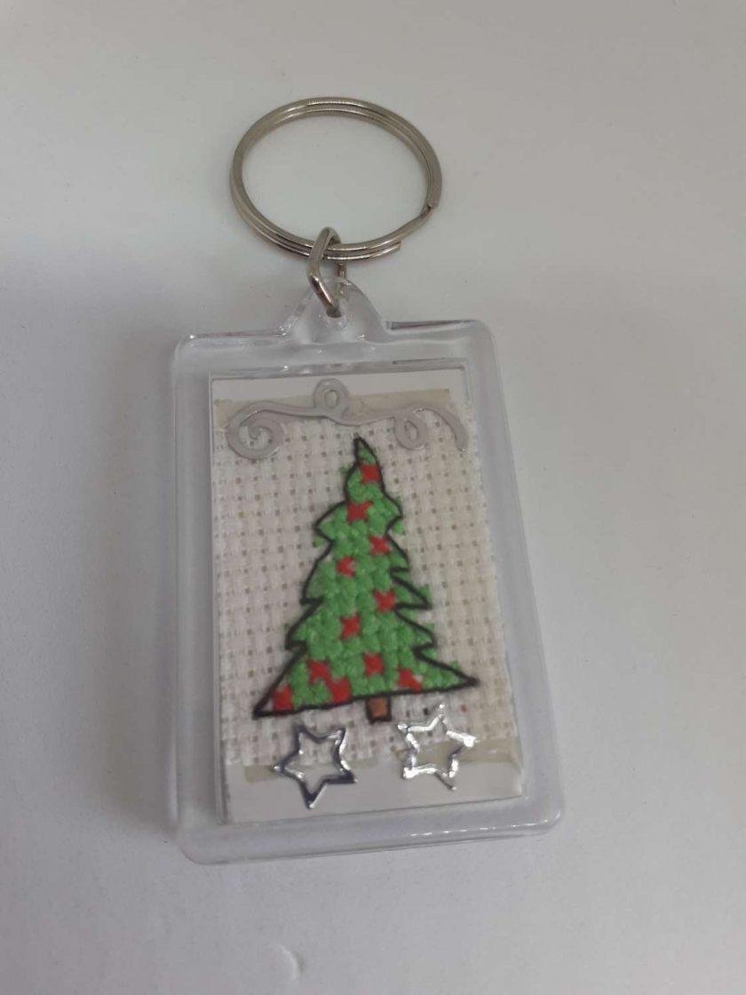 cross stitch christmas tree keyring 1