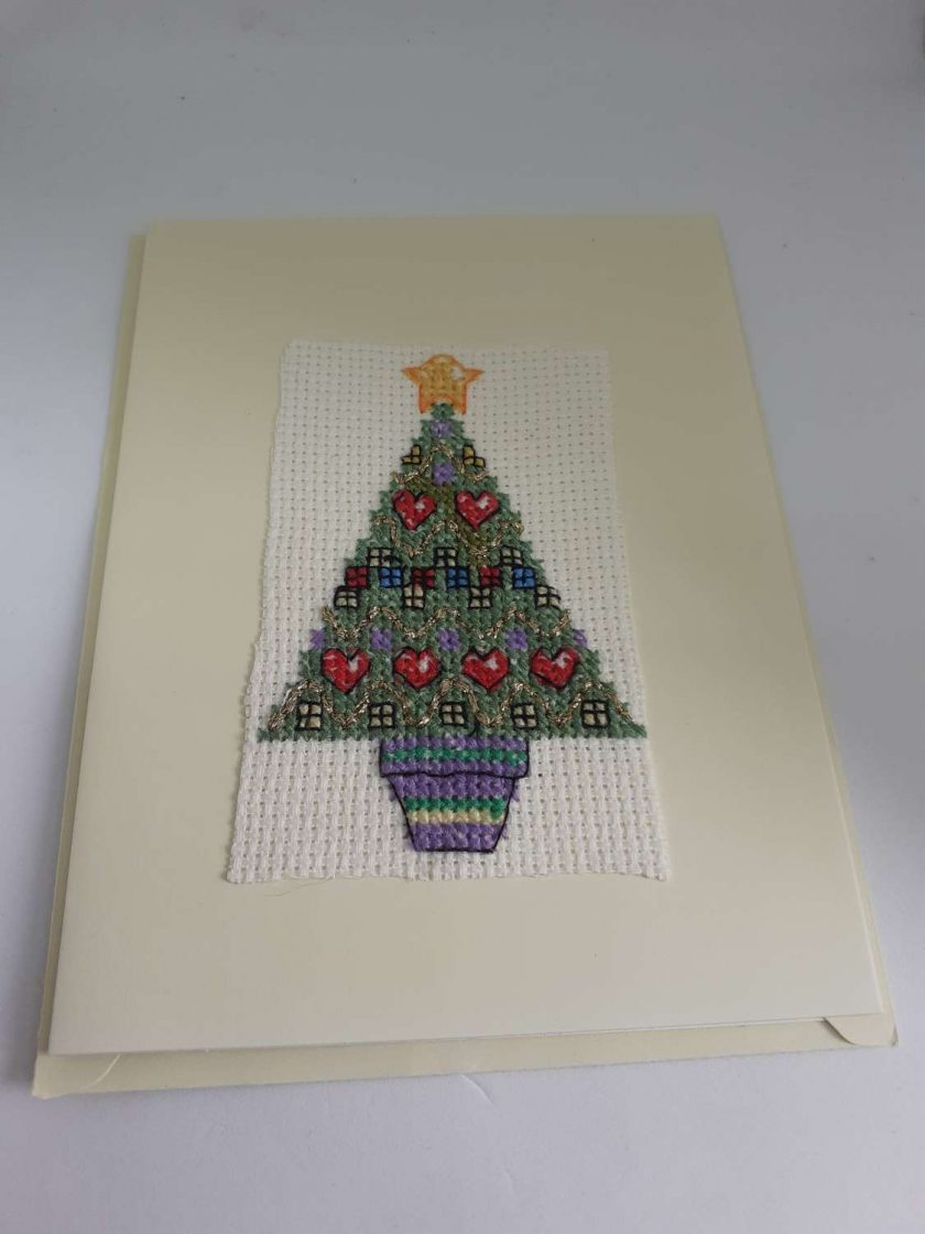 Cross stitch christmas tree card 1
