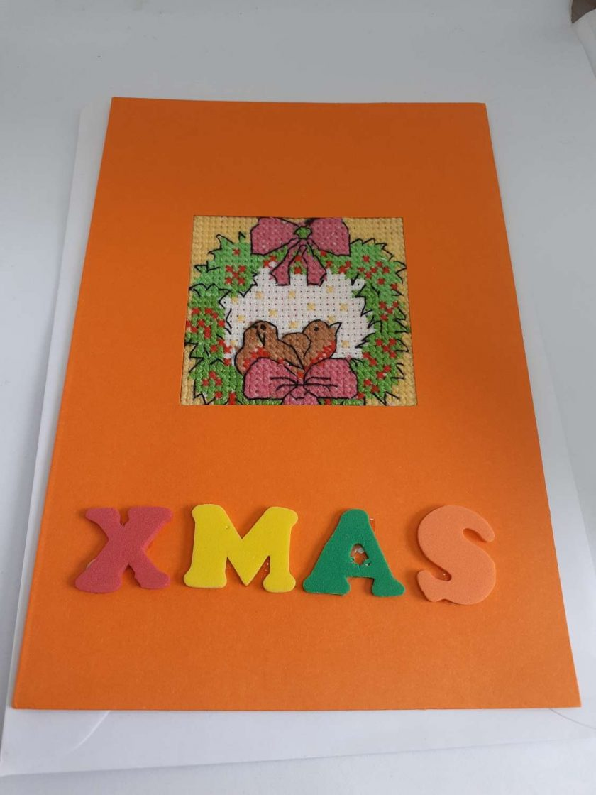 Cross stitch holly and robins card 1