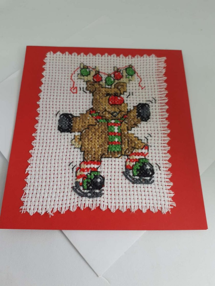 Cross stitch dancing reindeer card 1