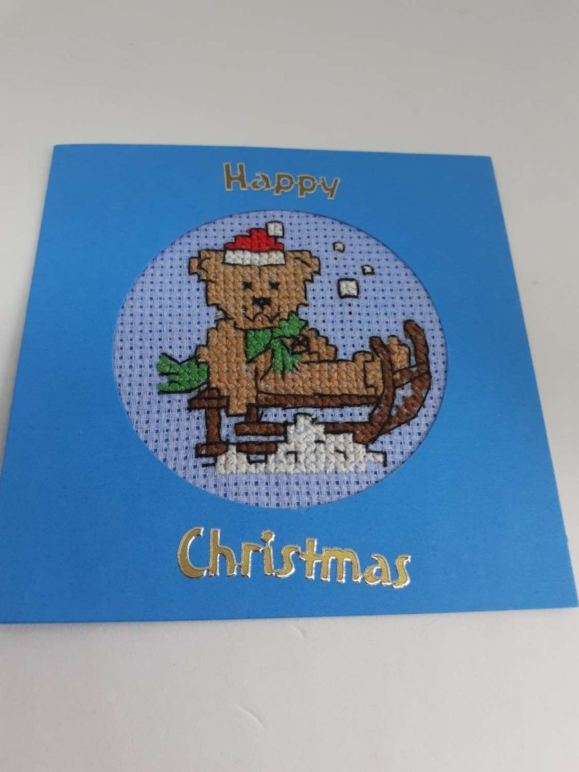 Cross stitch teddy bear christmas card 1