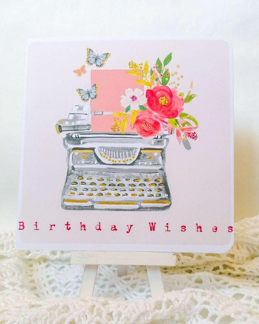 Handmade Birthday Card - Retro Typewriter 1