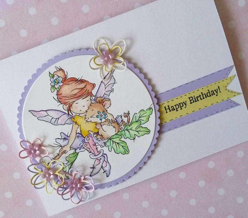 Handmade Birthday Card - Fairy Hugs 1