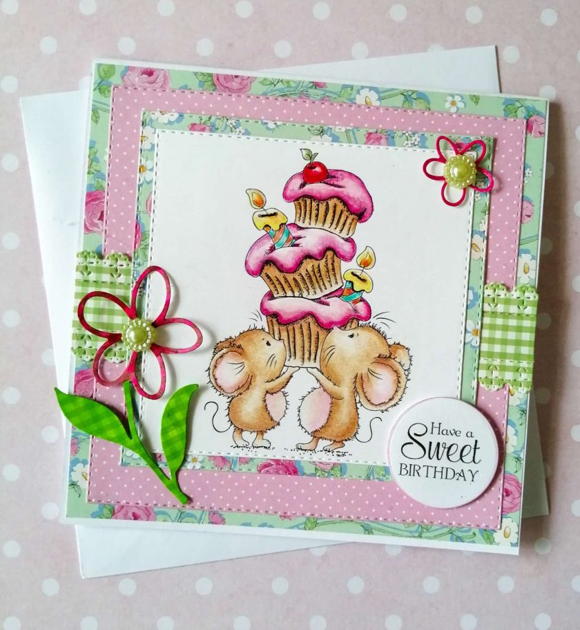 Handmade Birthday Card - Cupcake Mice - Cute 1