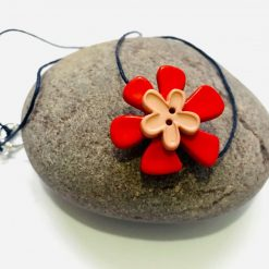 Button Flower Pendant Short Necklace 7