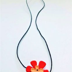 Button Flower Pendant Short Necklace 8