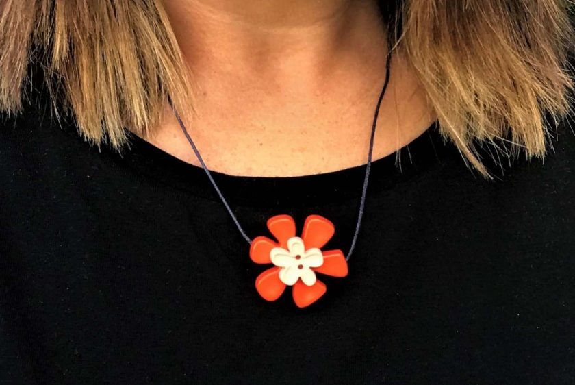 Button Flower Pendant Short Necklace 4