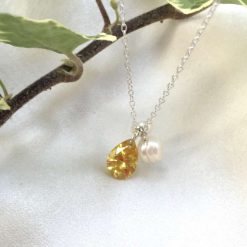 Yellow crystal teardrop necklace, freshwater pearl and crystal pendant, daffodil yellow jewellery, bridesmaids gifts, girlfriend gifts, graduation present 6