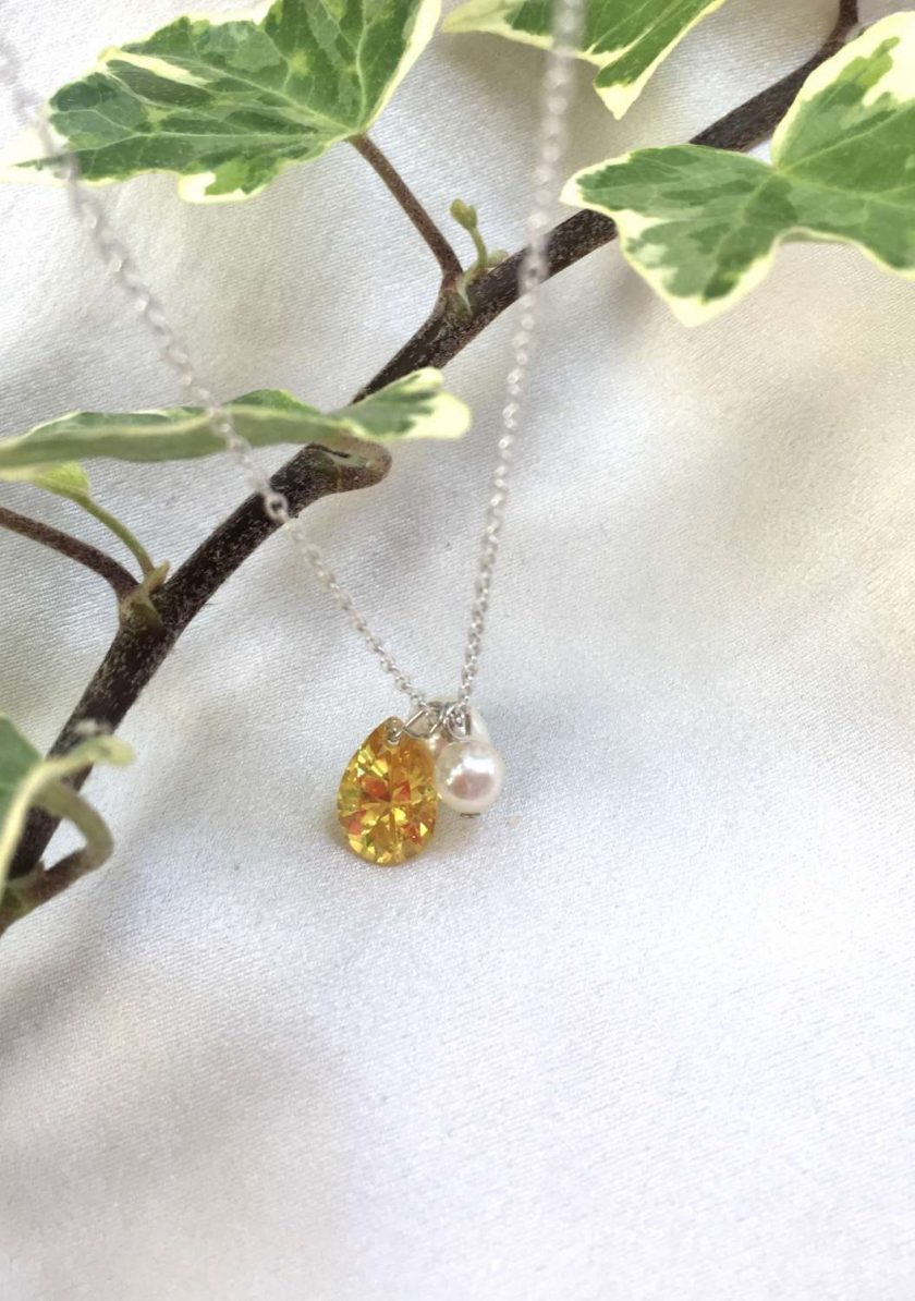 Yellow crystal teardrop necklace, freshwater pearl and crystal pendant, daffodil yellow jewellery, bridesmaids gifts, girlfriend gifts, graduation present 5