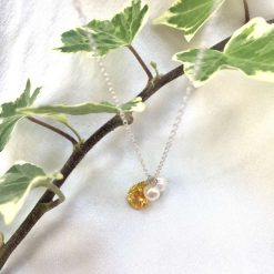 Yellow crystal teardrop necklace, freshwater pearl and crystal pendant, daffodil yellow jewellery, bridesmaids gifts, girlfriend gifts, graduation present 8