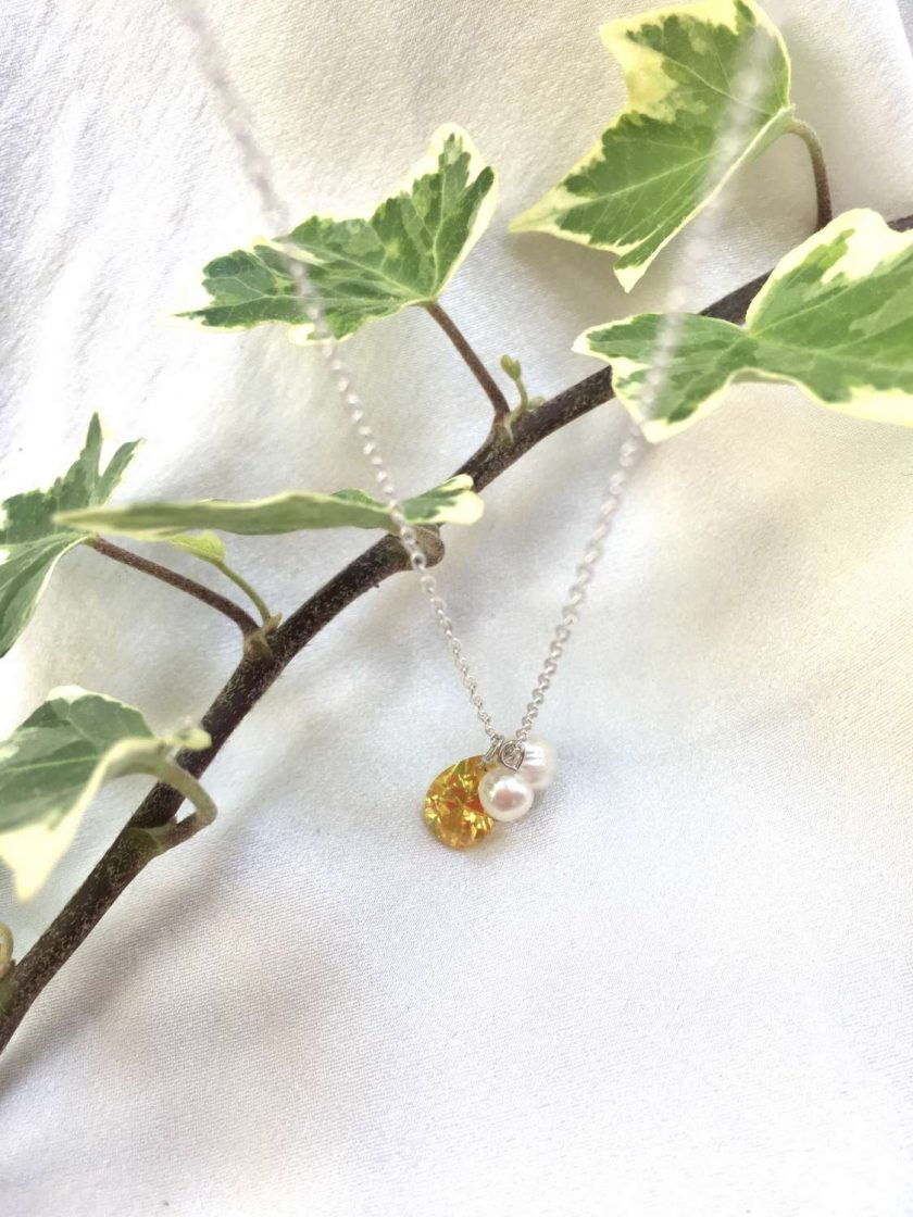 Yellow crystal teardrop necklace, freshwater pearl and crystal pendant, daffodil yellow jewellery, bridesmaids gifts, girlfriend gifts, graduation present 4