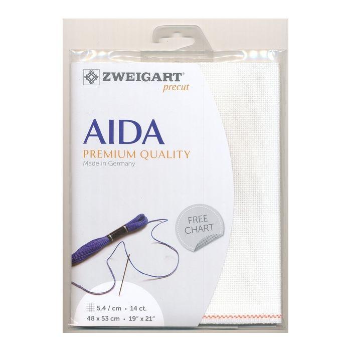 Zweigart Aida 14ct Cross Stitch Fabric - White 1