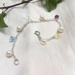 Pearl and crystal charm bracelet, bridal inspiration, rainbow bracelet, 21st birthday, 30th birthday, best friend gift, gift for girlfriend 9