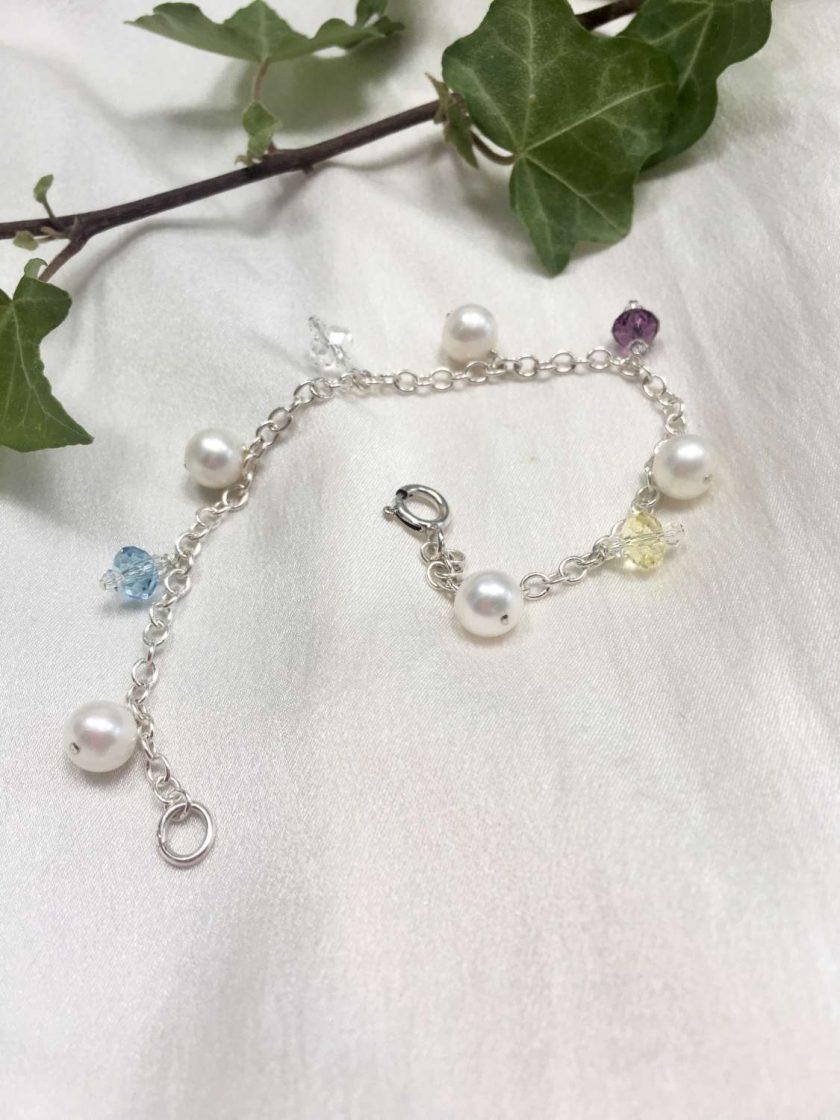 Pearl and crystal charm bracelet, bridal inspiration, rainbow bracelet, 21st birthday, 30th birthday, best friend gift, gift for girlfriend 3