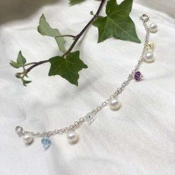 Pearl and crystal charm bracelet, bridal inspiration, rainbow bracelet, 21st birthday, 30th birthday, best friend gift, gift for girlfriend 10