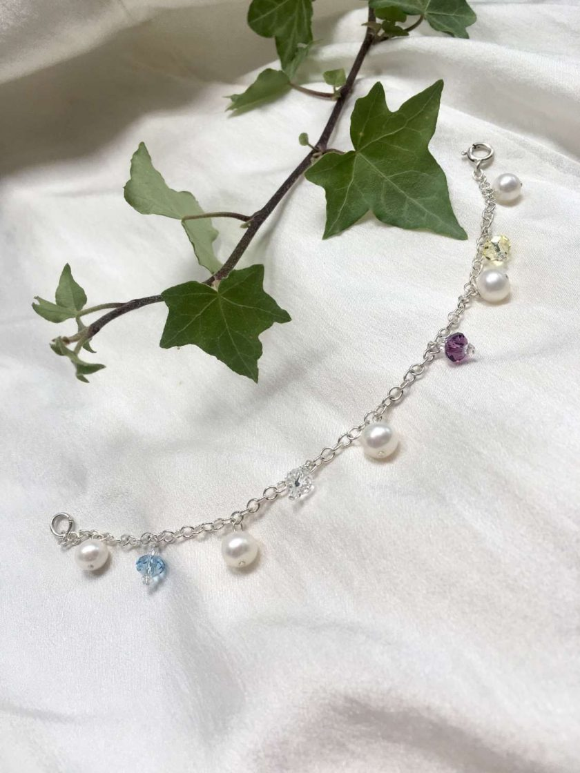 Pearl and crystal charm bracelet, bridal inspiration, rainbow bracelet, 21st birthday, 30th birthday, best friend gift, gift for girlfriend 4