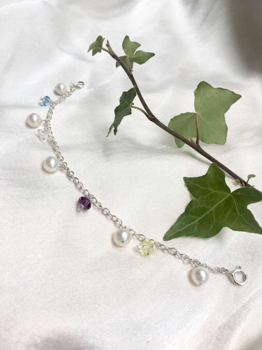 Pearl and crystal charm bracelet, bridal inspiration, rainbow bracelet, 21st birthday, 30th birthday, best friend gift, gift for girlfriend 5