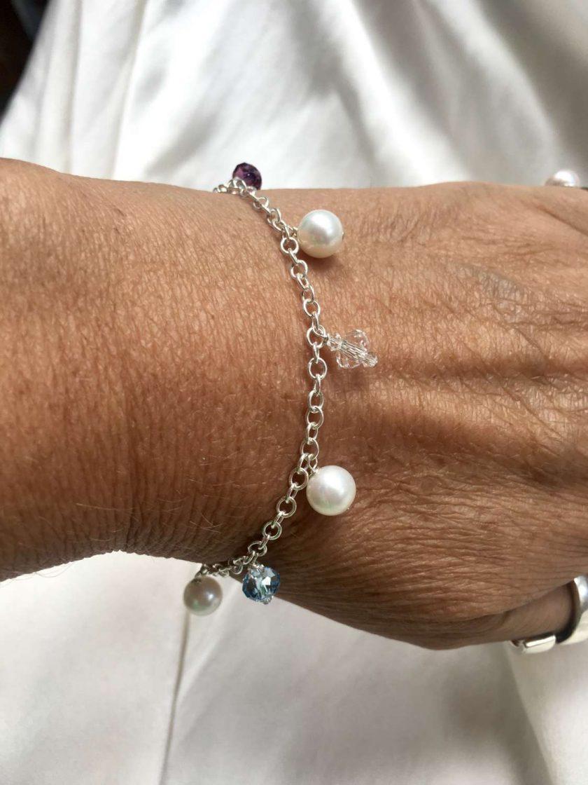 Pearl and crystal charm bracelet, bridal inspiration, rainbow bracelet, 21st birthday, 30th birthday, best friend gift, gift for girlfriend 6