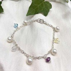 Pearl and crystal charm bracelet, bridal inspiration, rainbow bracelet, 21st birthday, 30th birthday, best friend gift, gift for girlfriend 13