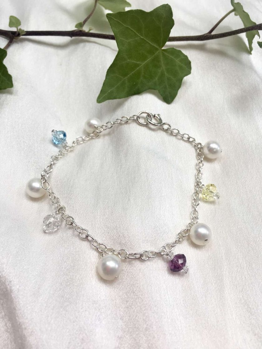 Pearl and crystal charm bracelet, bridal inspiration, rainbow bracelet, 21st birthday, 30th birthday, best friend gift, gift for girlfriend 7