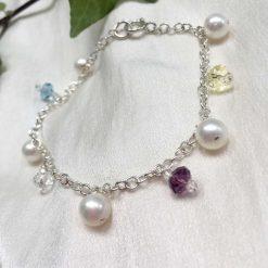 Pearl and crystal charm bracelet, bridal inspiration, rainbow bracelet, 21st birthday, 30th birthday, best friend gift, gift for girlfriend 8