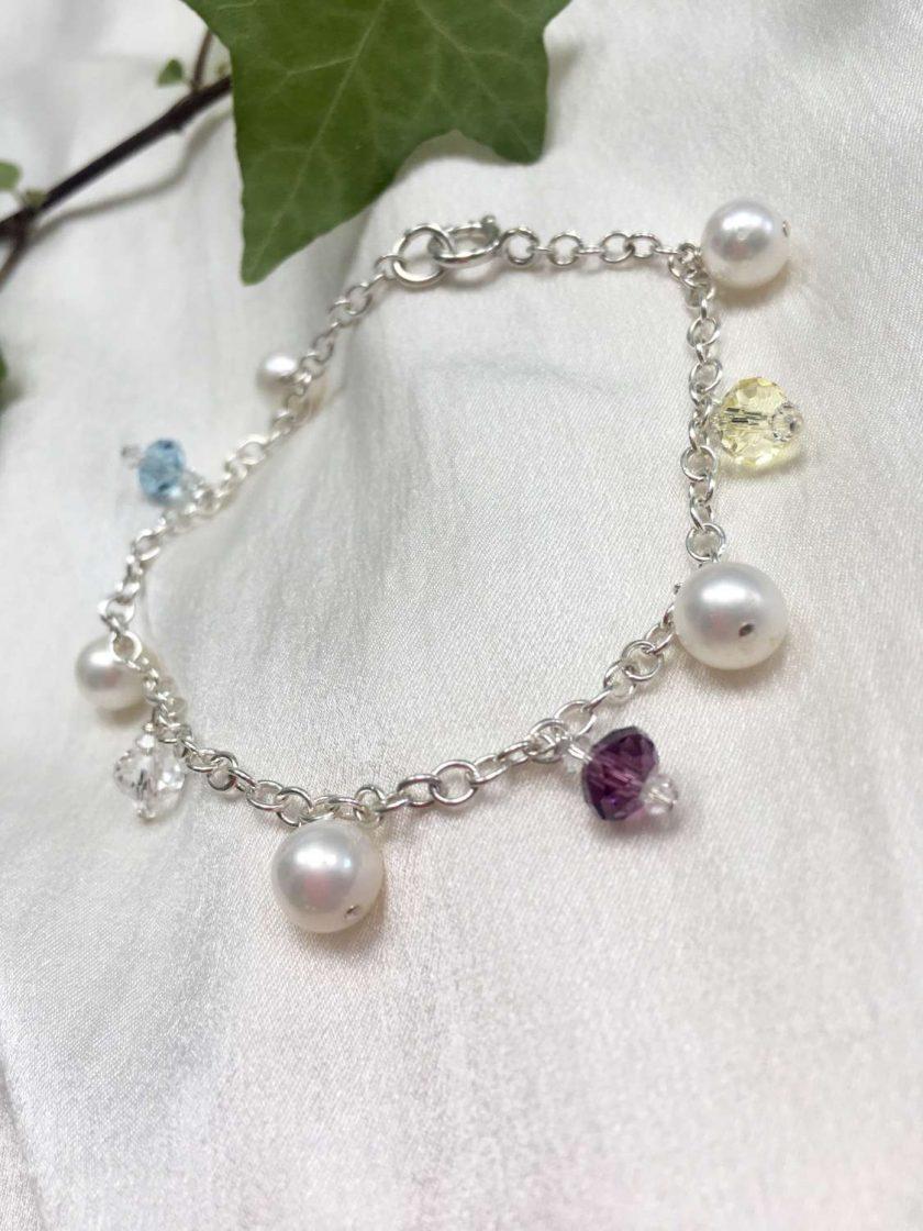 Pearl and crystal charm bracelet, bridal inspiration, rainbow bracelet, 21st birthday, 30th birthday, best friend gift, gift for girlfriend 1