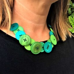 Green button necklace (short) 9