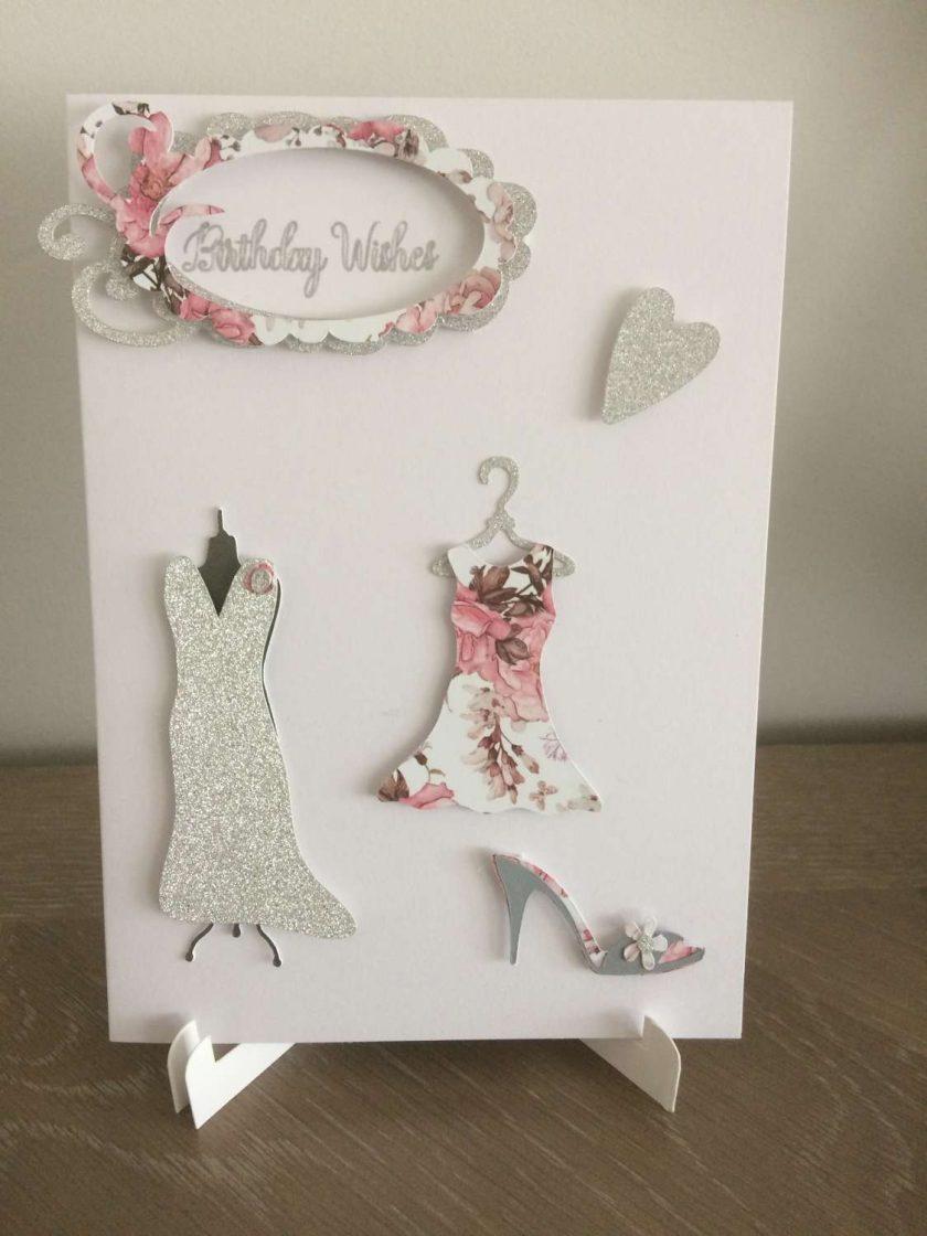 Birthday card Glitz and glam glitter/pink 1