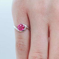 Pink Topaz Silver Ring