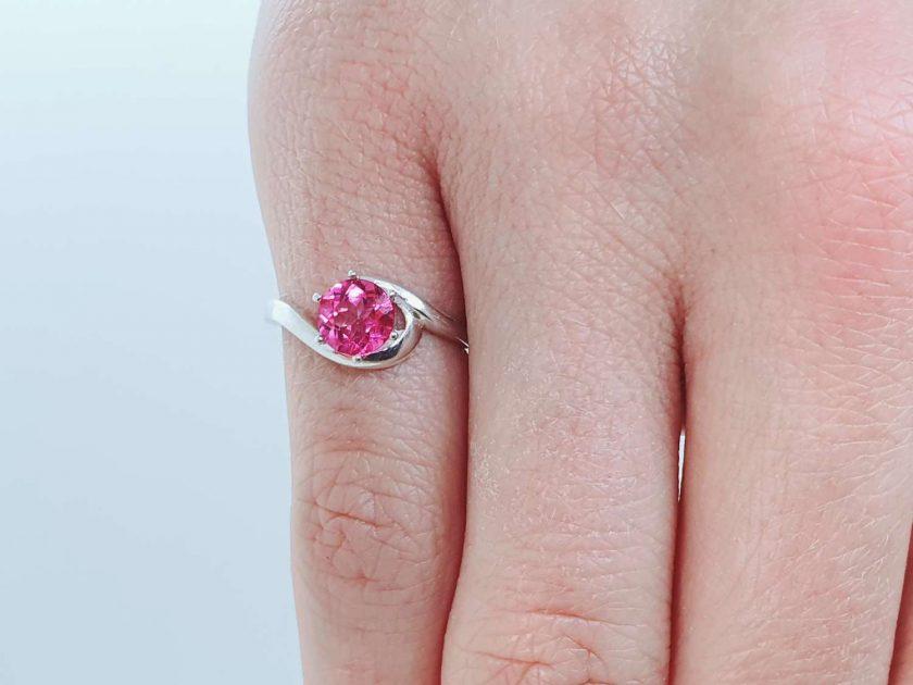Pink Topaz Silver Ring 1