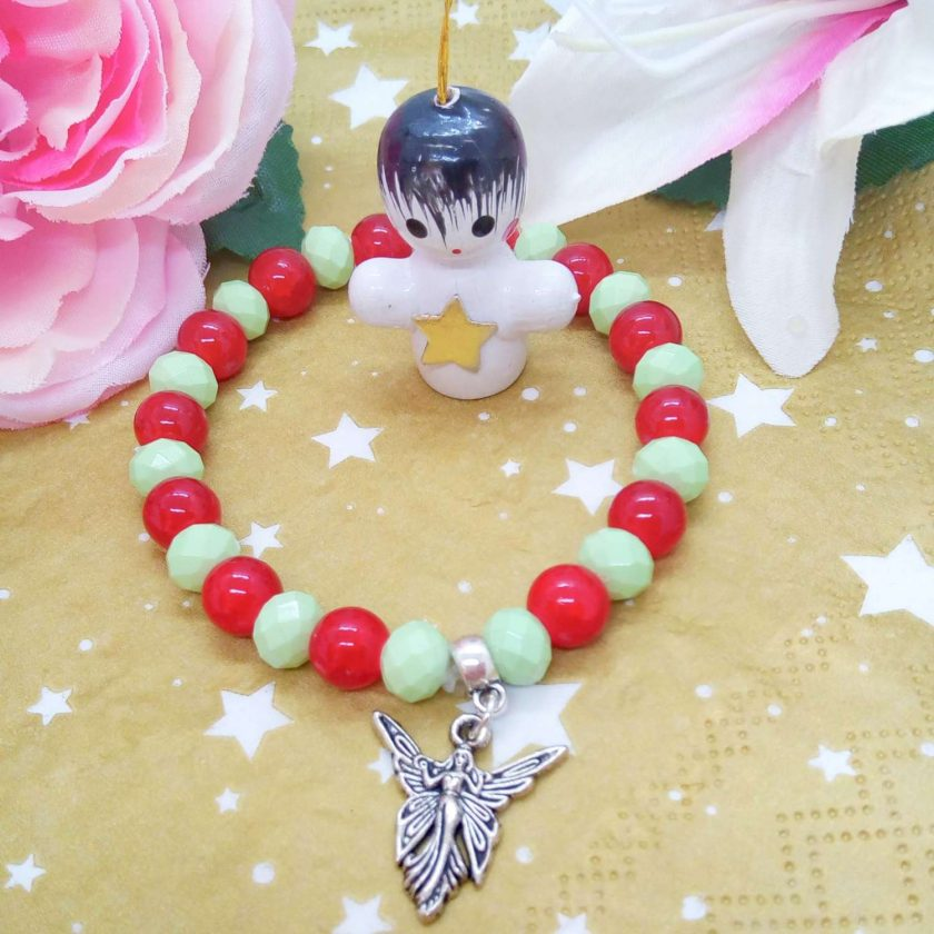 Silver Angel Charm on a Pale Green Faceted Bead and Round Red Bead Christmas Stretch Bracelet 1