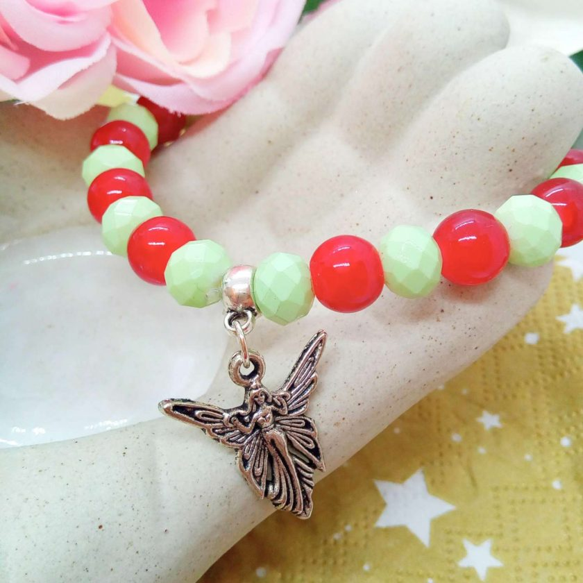 Silver Angel Charm on a Pale Green Faceted Bead and Round Red Bead Christmas Stretch Bracelet 3