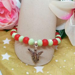 Silver Angel Charm on a Pale Green Faceted Bead and Round Red Bead Christmas Stretch Bracelet 11