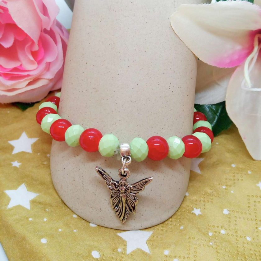 Silver Angel Charm on a Pale Green Faceted Bead and Round Red Bead Christmas Stretch Bracelet 4