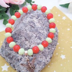 Silver Angel Charm on a Pale Green Faceted Bead and Round Red Bead Christmas Stretch Bracelet 12
