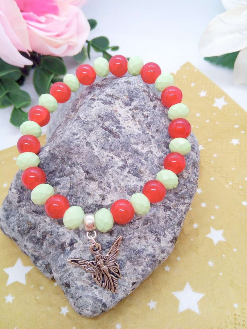 Silver Angel Charm on a Pale Green Faceted Bead and Round Red Bead Christmas Stretch Bracelet 5
