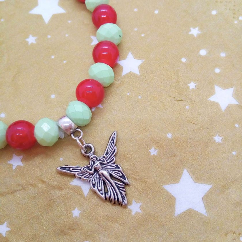Silver Angel Charm on a Pale Green Faceted Bead and Round Red Bead Christmas Stretch Bracelet 6