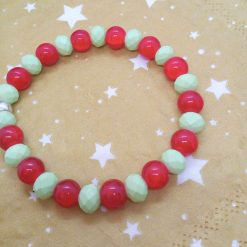 Silver Angel Charm on a Pale Green Faceted Bead and Round Red Bead Christmas Stretch Bracelet 14