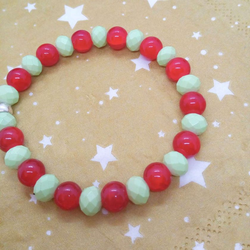 Silver Angel Charm on a Pale Green Faceted Bead and Round Red Bead Christmas Stretch Bracelet 7
