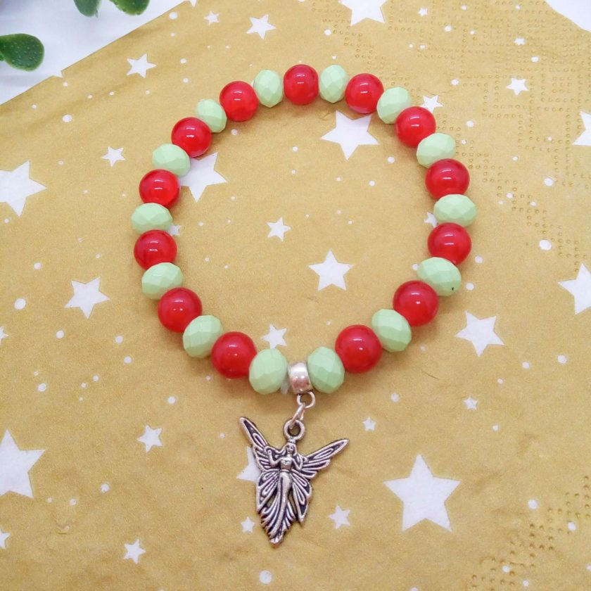 Silver Angel Charm on a Pale Green Faceted Bead and Round Red Bead Christmas Stretch Bracelet 8