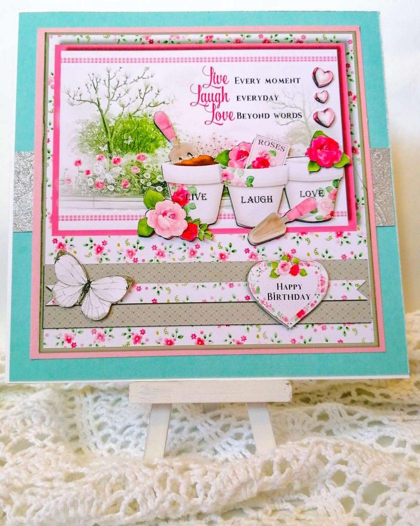 Large Handmade Card - Live Laugh Love 1