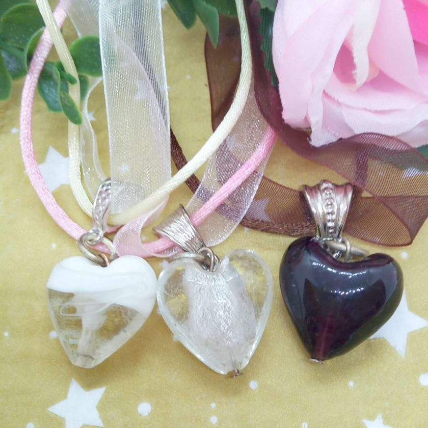 Glass Heart Pendant on Ribbon and Cord Necklace, Choice of Pendant Colour, Ladies Jewellery 2