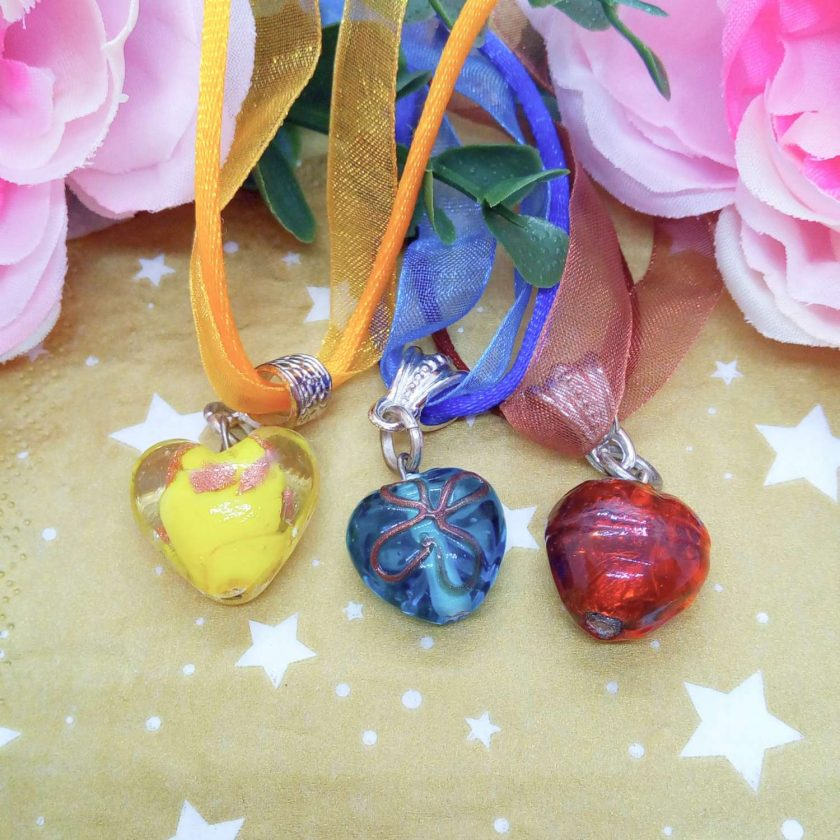 Glass Heart Pendant on Ribbon and Cord Necklace, Choice of Pendant Colour, Ladies Jewellery 3