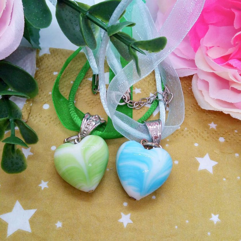 Glass Heart Pendant on Ribbon and Cord Necklace, Choice of Pendant Colour, Ladies Jewellery 4